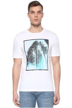 Boss Erkek Regular Fit Beyaz Baskılı Casual T-shirt M EU(109265291)
