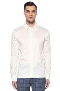 Luciano Barbera Erkek Beyaz Sivri Yaka Gömlek XL EU(113466258)