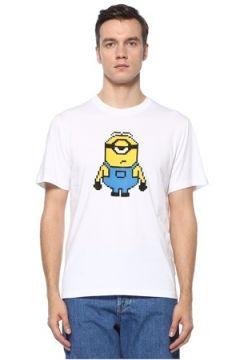 8-Bit by Mhrs Erkek Beyaz 3D Figür Baskılı Basic T-shirt S EU(121912328)
