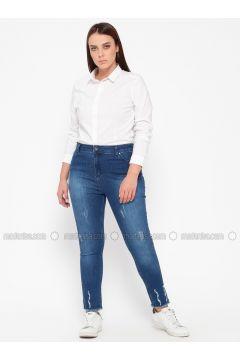 Navy Blue - Denim - Plus Size Pants - RMG(110322975)