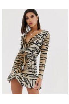 In The Style - Mini-Wickelkleid mit Rüschen und Tigerprint - Mehrfarbig(93658035)