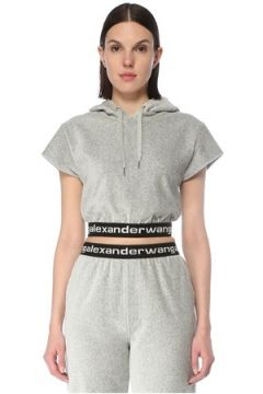 T by Alexander Wang Kadın Corduroy Gri Beli Logo Bantlı Cropped Sweatshirt S EU(127752588)