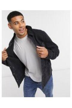 New Look - Giacca di jeans nera con colletto a coste-Nero(121434400)