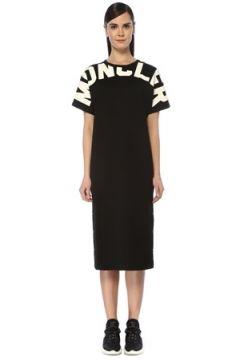 Moncler Kadın Siyah Kontrast Logo Baskılı Midi T-shirt Elbise XS EU(109265152)
