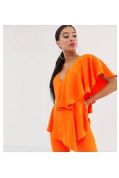 Yaura - Tief ausgeschnittener Jumpsuit mit Rüschen in Orange - Orange(86700492)