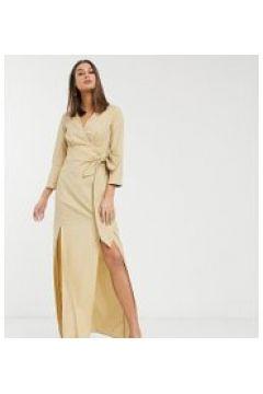 Glamorous Tall - Vestito midi a portafoglio in tessuto testurizzato-Cuoio(120329441)
