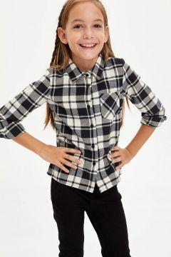 DeFacto Kız Çocuk Ekose Desen Uzun Kol Gömlek(125920027)