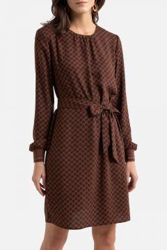 Vestido recto con estampado floral de crepé vaporoso(108523053)