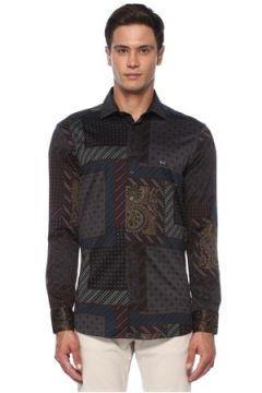 Etro Erkek Lacivert Modern Yaka Karışık Desenli Gömlek 38 IT(120498264)