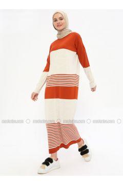 Beige - Terra Cotta - Stripe - Crew neck - Unlined -- Dresses - Zentoni(110323370)