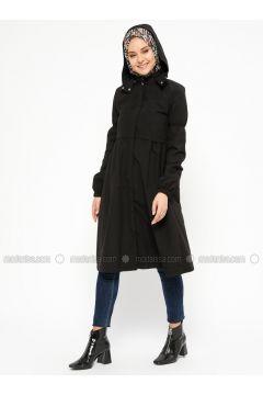 Black - Unlined - Polo neck - Topcoat - Laruj(110319714)