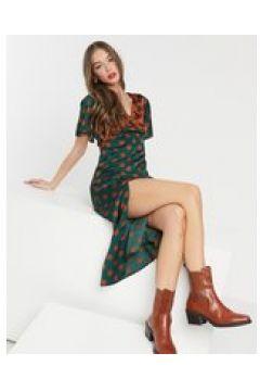 Girl In Mind - Vestito midi con maniche a volant, spacchi sulle cosce e pois a contrasto-Multicolore(122965063)