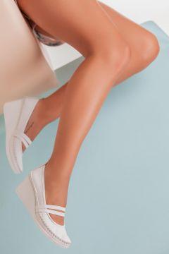 Deripabuc Hakiki Deri BEYAZ Kadın Dolgu Topuklu Deri Ayakkabı(124974146)