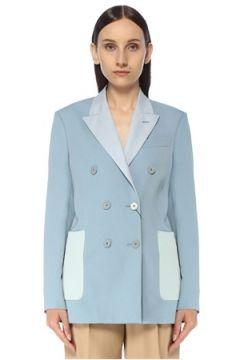 Stella McCartney Kadın Mavi Bloklu Kruvaze Yün Blazer Ceket 42 IT(117384975)