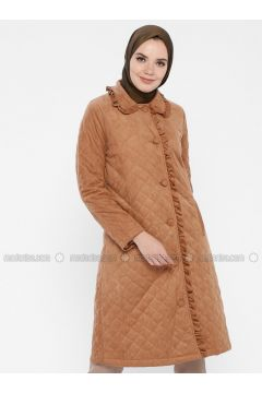 Tan - Fully Lined - Round Collar - Puffer Jackets - MOODBASİC(110339174)