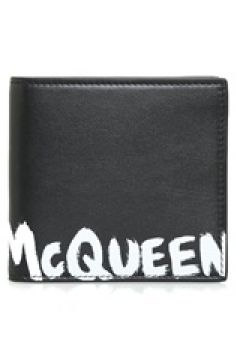 Alexander McQueen Erkek Siyah Logo Baskılı Deri Cüzdan EU(120498229)