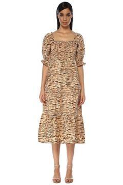 Faithfull The Brand Kadın Wyldie Bej Kahve Zebra Desenli Keten Midi Elbise Kahverengi XS EU(119229987)