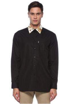 Versace Erkek Siyah Yakası Barok Desenli Gömlek 42 IT(120885415)