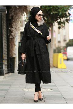 Black - Fully Lined - Shawl Collar - Wool Blend - Acrylic - Coat - AL SHEIKHA(110319392)