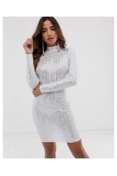 Flounce London - Auffälliges Minikleid in Weiß-Metallic - Weiß(86715721)