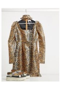 Milk It - Vestito vintage leopardato con maniche a sbuffo e cut-out-Marrone(120330115)