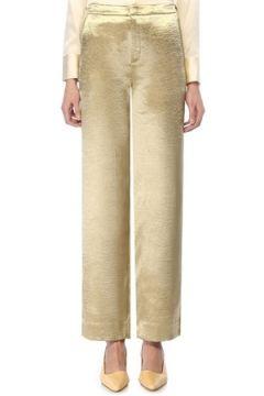 Vince Kadın Gold Normal Bel Bol Paça Pantolon Altın Rengi 6 US(108810147)