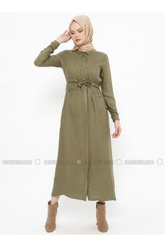 Khaki - Point Collar - Unlined - Dresses - SELLY(110330476)