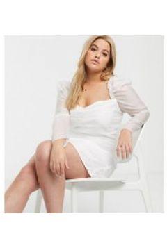 In The Style Plus - Vestito corto in rete con ruches e maniche a sbuffo bianco(120332895)