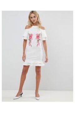 Urban Bliss - Vestito con spalle scoperte e applicazione-Bianco(123214141)