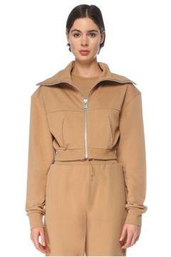 Lol Kadın Amira Kamel Dik Yaka Fermuarlı Crop Sweatshirt Kahverengi S/M EU(126468651)