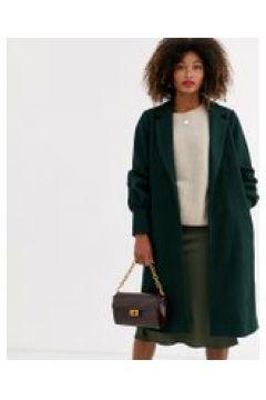 Unique21 - Cappotto di lana con polsini raccolti-Verde(120389199)