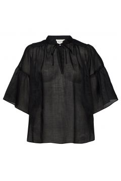 Aida Ss Blouse Blouses Short-sleeved Schwarz SECOND FEMALE(114801817)