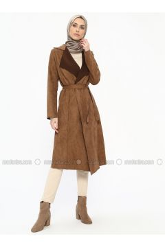 Brown - Unlined - Shawl Collar - Topcoat - ECESUN(110322435)