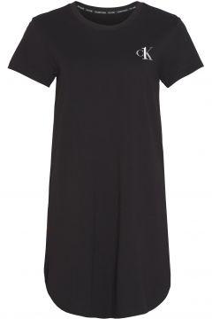 Calvin Klein Logo Short Sleeved Nightshirt Damen Nachtwäsche - Black(123708358)