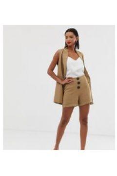 Mango - Braune Shorts mit Fischgrätenmuster und Knopfleiste - Braun(95030491)