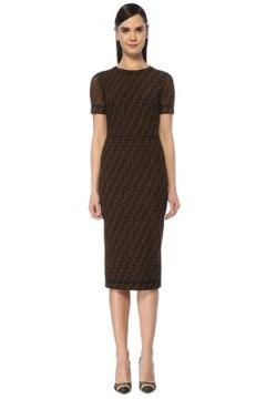 Fendi Kadın Kahverengi Logo Baskılı Midi Elbise 42 IT(109265530)