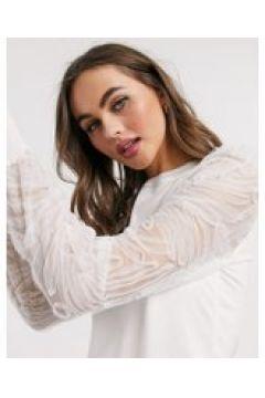 New Look - Maglione bianco con maniche in organza(120362874)