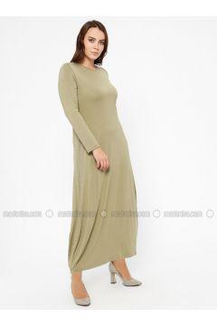 Green Almond - Crew neck - Unlined - Plus Size Dress - Efraze(110329604)