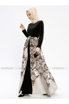 Black - Multi - Fully Lined - Crew neck - Muslim Evening Dress - Robir(110320684)