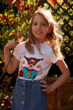 DeFacto Kız Çocuk Güvende Kal Bisiklet Yaka T-shirt(119065082)