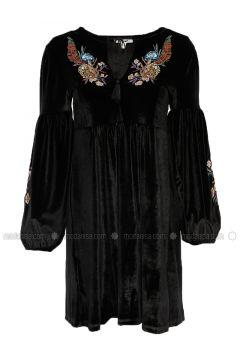 Black - Crew neck - Unlined - Dresses - Koton(110322335)