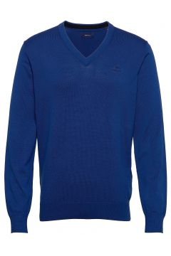 Classic Cotton V-Neck Strickpullover V-Ausschnitt Blau GANT(116746297)