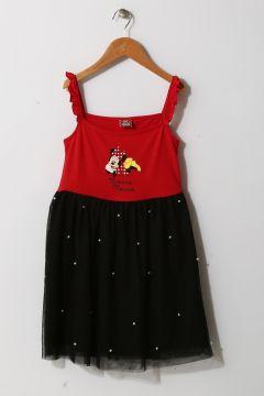 Limon Kız Çocuk Mickey Mouse Baskılı Kırmızı-Siyah Tüllü Elbise(113959538)