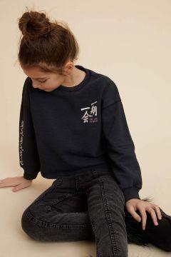 DeFacto Kız Çocuk Yazı Baskılı Crop Sweatshirt(119061807)
