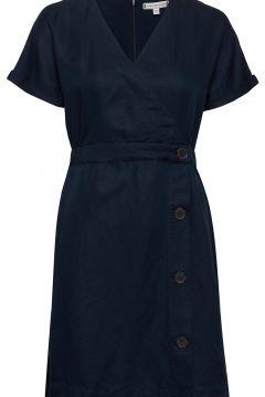 Linen Tencel Ss Dress Kleid Knielang Blau TOMMY HILFIGER(116334595)