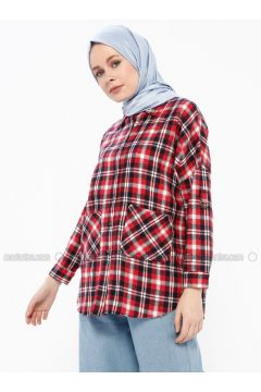 Red - Plaid - Point Collar - Blouses - İroni(110339003)
