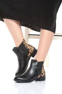 Shoes Time Siyah Leopar Kadın Bot & Bootie(123522562)