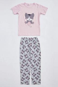 DeFacto Kız Çocuk Kedi Baskılı Pijama Takımı(125930049)