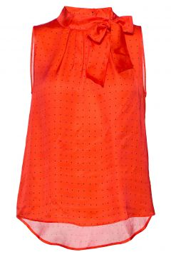 3356 - Prosa Top Tie Bluse Ärmellos Rot SAND(99021640)