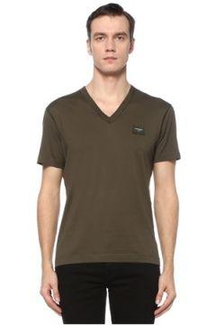 Dolce&Gabbana Erkek Haki V Yaka Logolu Basic T-shirt 44 IT(123516350)